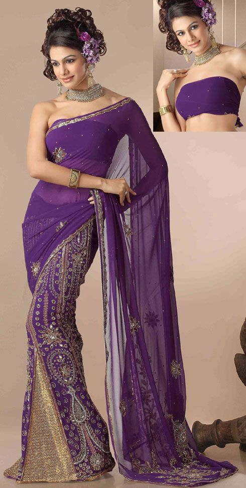 Description: Deep purple color georgette lehenga style saree is with heavily embroidered motifs design with brocade kalis with 9-yard border