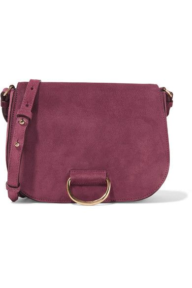 Little Liffner - Saddle Medium Suede Shoulder Bag - Plum - one size