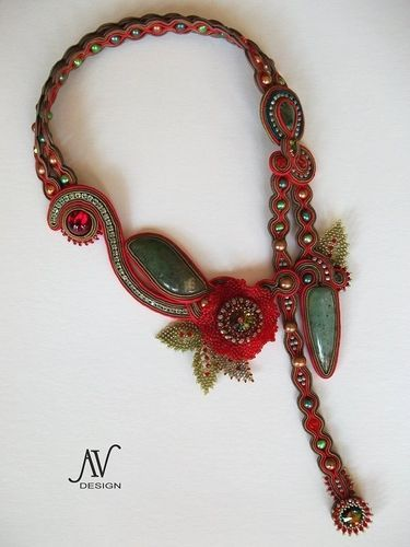 red #soutache necklace