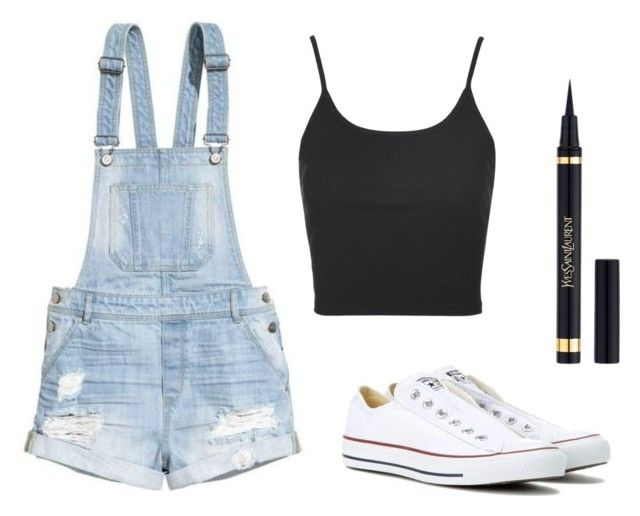 """Untitled #1356"" by dogs109 ❤ liked on Polyvore featuring H&M, Converse, Topshop and Yves Saint Laurent"