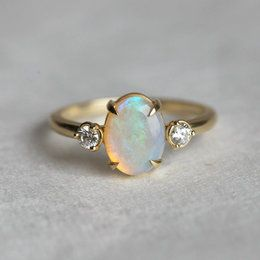 Opal Ring, Opal Engagement Ring, Opal Diamond Ring, Unique Engagement Ring, Past Present Future Ring, Anniversary Ring