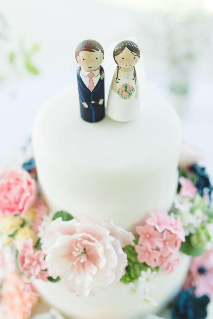 Bride Groom Wooden Peg Cake Toppers Pretty Pink Floral Garden Wedding Image: https://www.georgimabee.com/