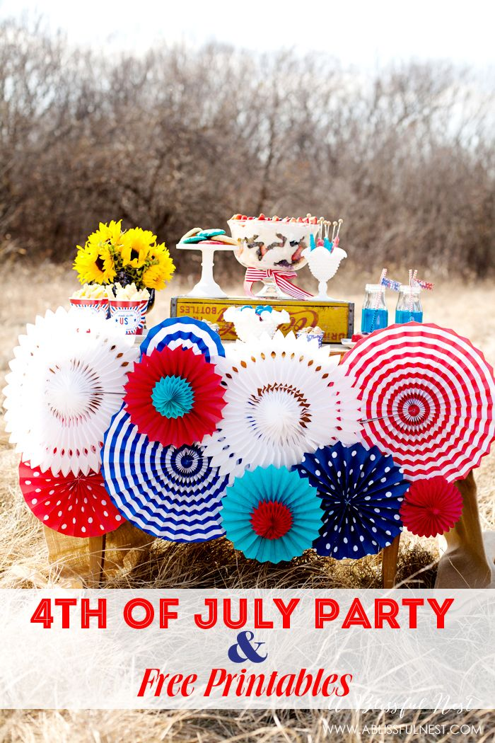4th of july party ideas with free printables for 4th of july party decoration