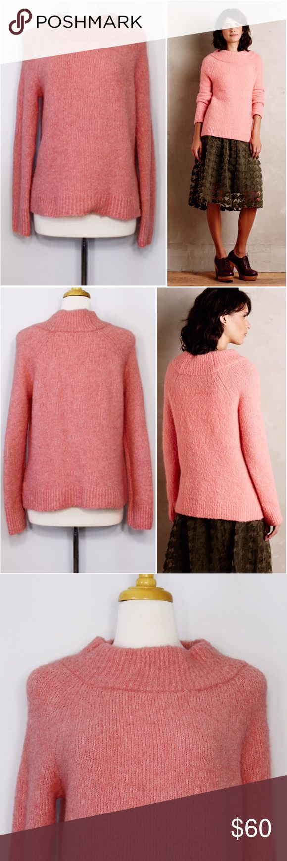 """Anthropologie (MOTH) Mock Neck Bouclé Sweater Bust: 20"""" (laying flat, stretchy back)  Length: 23"""" (shoulder to hem)   A cozy wool sweater in great condition! Pullover styling. Wide mockneck. 45% Acrylic, 28% wool, 18% polyester, 9% alpaca sweater knit. No holes or stains. Comes from a smoke free environment.  👌🏻Offers welcome through offer button 📦Bundles welcome ❌NO trades, please. ⚡️Same/Next day shipping Anthropologie Sweaters"""