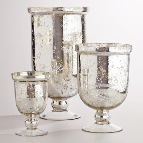 One of my favorite discoveries at WorldMarket.com: Silver Mercury Glass Hurricane Holders