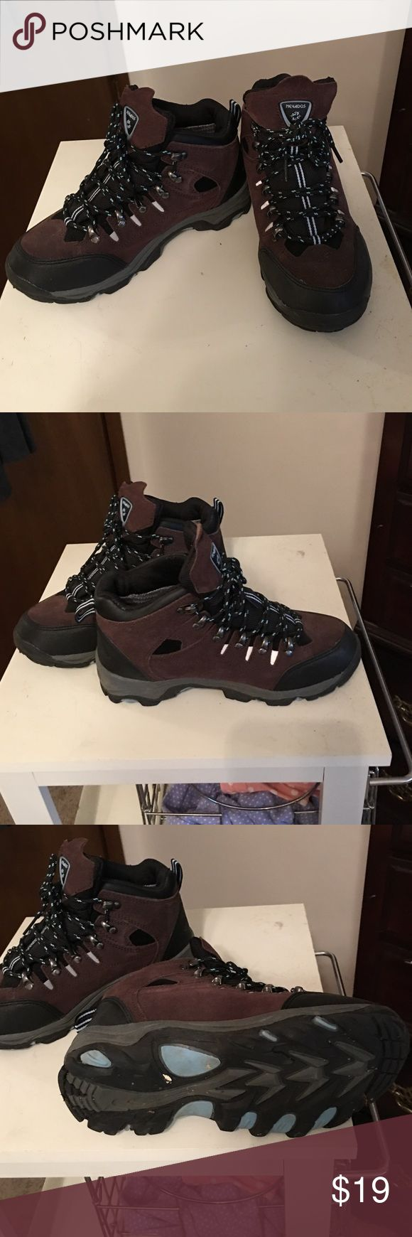 Megadose Hiking boots Hiking boots, barely worn, great for protection of your ankles. Soles not worn - like new.  Can lace as tight as you like. Hiking weather coming soon! Nevados Shoes Combat & Moto Boots