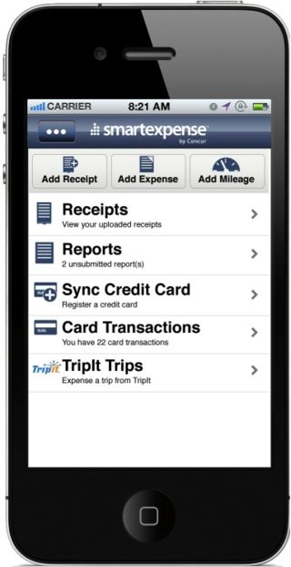 SmartExpense for the iPhone links with Tripit