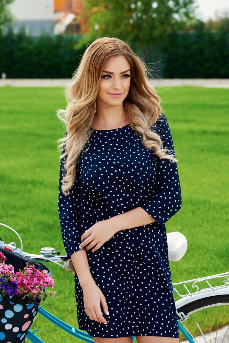 StarShinerS Pleasant DarkBlue Dress, 3/4 sleeves, nonelastic fabric