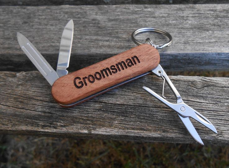 Customized Pocket Knives, Keychain. Laser Engraved Wood. Wedding, Men's, Groomsmen Gift, Dad, Anniversary. Knife by TreeTownPaper on Etsy