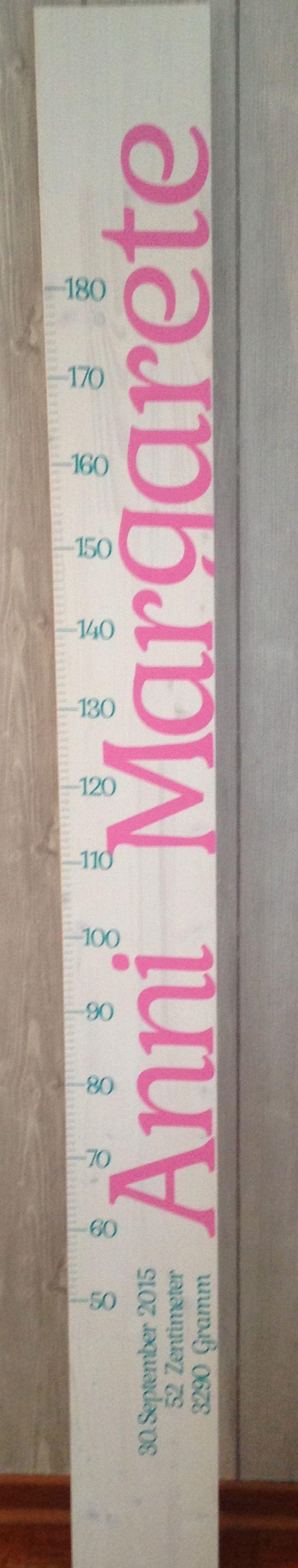 larissaswelt Kindermesslatte Oktober 2015  ANNI MARGARETE 200cm Design 4 ( mit Großbuchstaben am Anfang)  Farbe: türkis + rosa