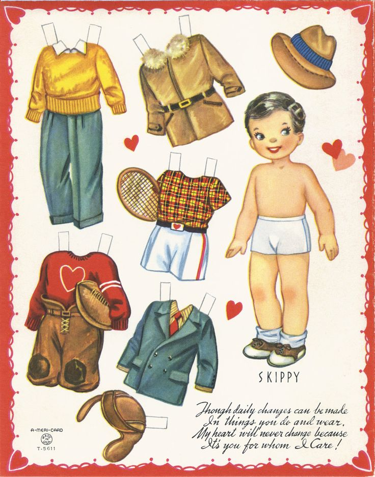 "✄ #Paper dolls.....""Skippy""- Valentine ✄-Out Doll Book, A-Meri-Card, 1952:"