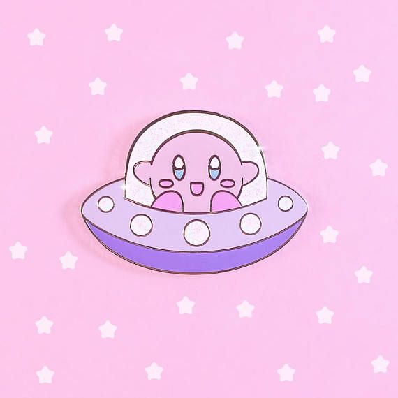 look at this lil kirby in his spaceship! too much kawaii! I wanna cover my jacket in these pins #ad #afflink #pokemon #kawaii #kirby #pastel #aesthetic