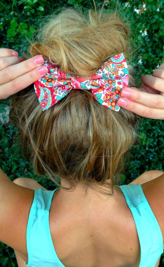 Colorful Floral Big Hair Bow