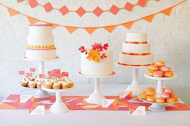 Say goodbye to winter gloom with a warm + bright dessert table at your bridal shower.