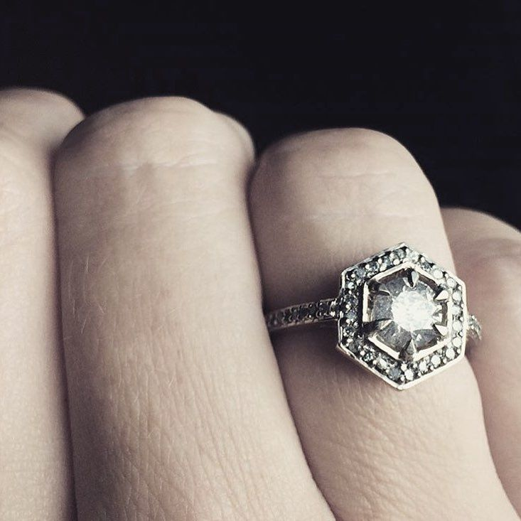 That beautiful grey diamond hex engagement ring.... - Meadowlark Jewellery