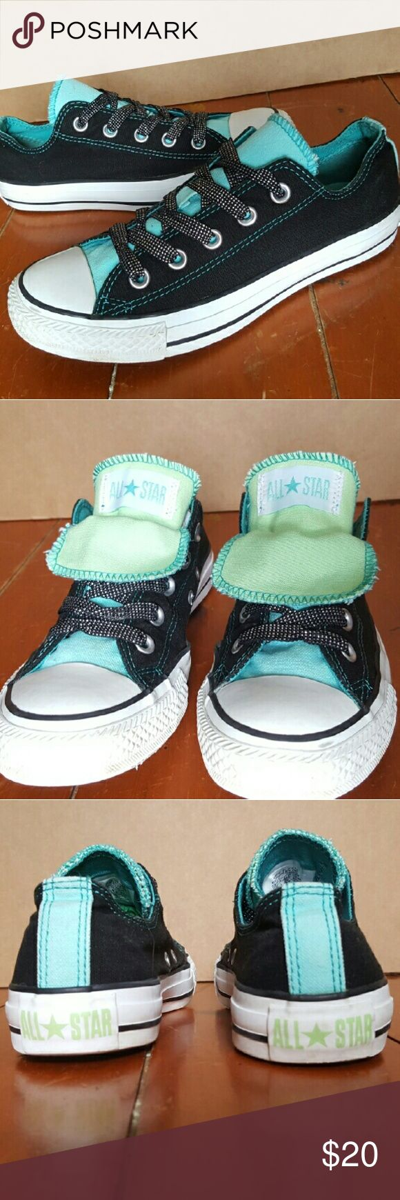 Converse Tiffany blue/Green Double Tounge Shoes Converse Chuck Taylor All Star Low Double Tounge Shoes Women's Size 6 Converse Shoes Sneakers