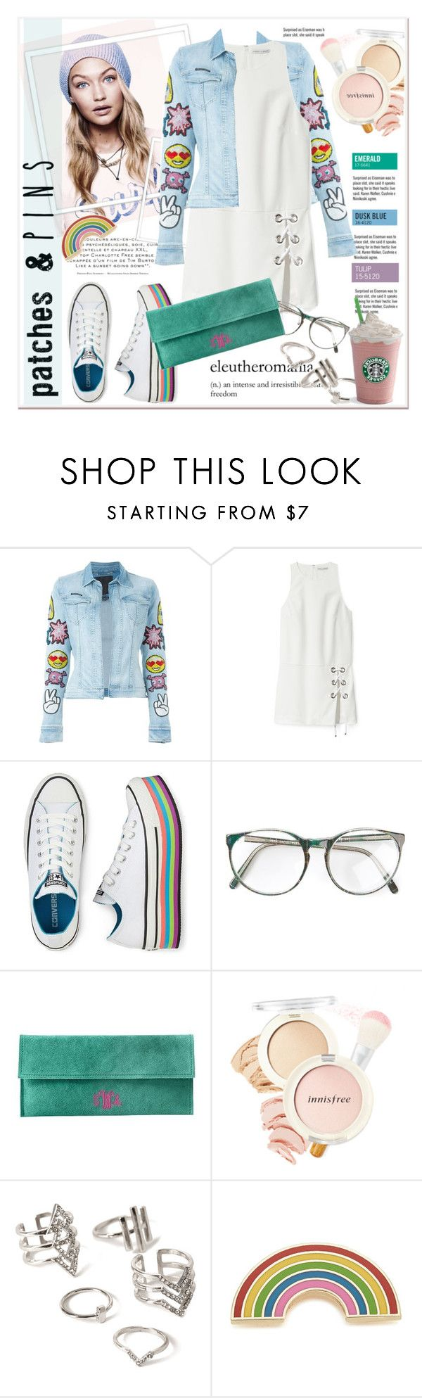 """""""Patch your denim jacket"""" by stylemeup-649 ❤ liked on Polyvore featuring Garance Doré, Philipp Plein, Rebecca Minkoff, Converse, Innisfree, Forever 21, Georgia Perry, denim, sneaker and patchesandpins"""