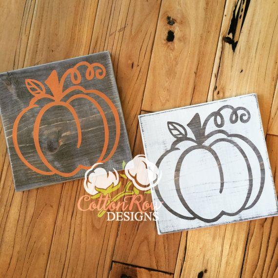 Rustic wood Pumpkin signs rustic Halloween by CottonRowDesigns