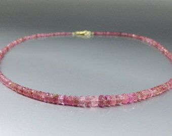 Check out Elegant pink Tourmaline necklace with 14K gold - gift idea Christmas on gemorydesign