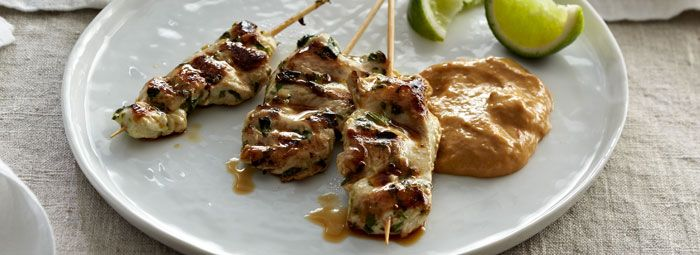 Grilled Chicken Satay With Mango-Peanut Dipping Sauce