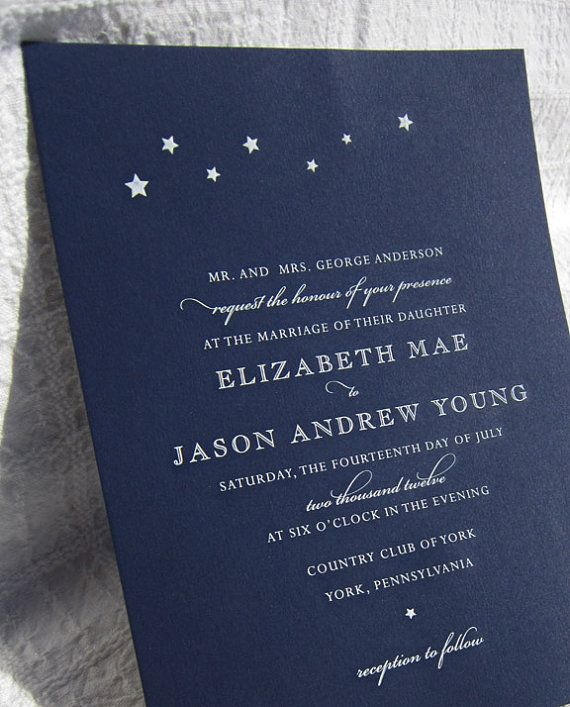 Starry Night Engraved Invitation White on Navy by invitationgirl, $8.00