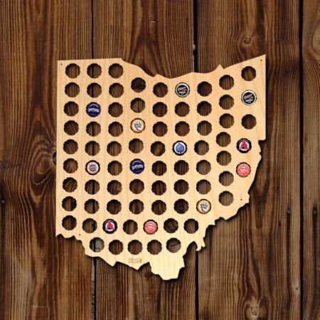 Ohio Beer Cap Map - click/tap to personalize and buy