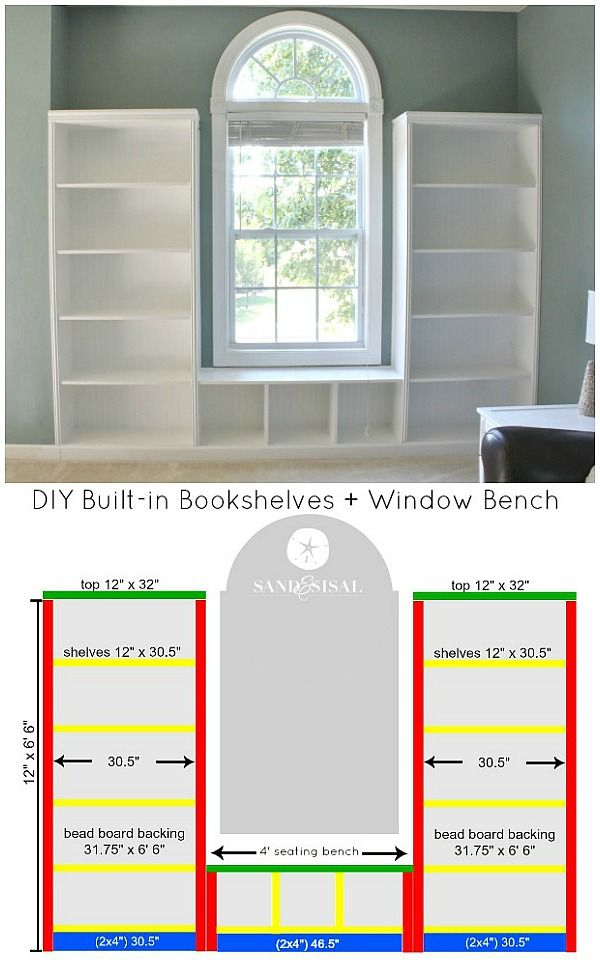 DIY Built-in Bookshelves + Window Bench Tutorial with beadboard and rope trim moldings. Can you cut a straight line with a circular saw? Then YOU can build these! I did & it was easier than I thought!