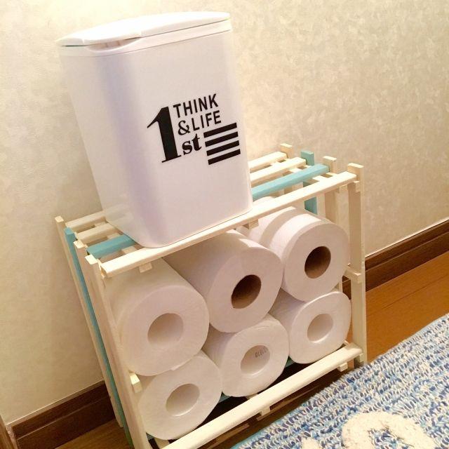chiriさんの、バス/トイレ,100均,DIY,セリア,すのこ,トイレの棚,すのこリメイク,すのこDIY,コンテスト参加,水性ニス,トイレットペーパー収納,トイレットペーパー見せる収納,のお部屋写真
