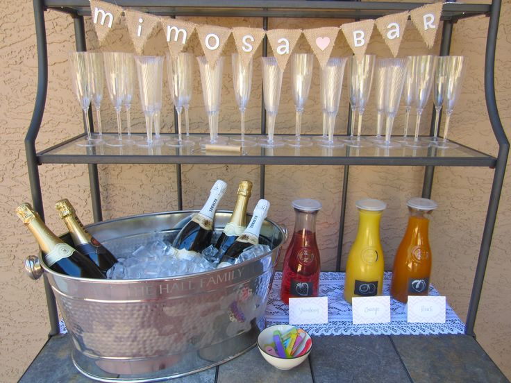 Burlap and Lace Bridal Shower=Mimosa bar...can include non alcoholic champagne...love this