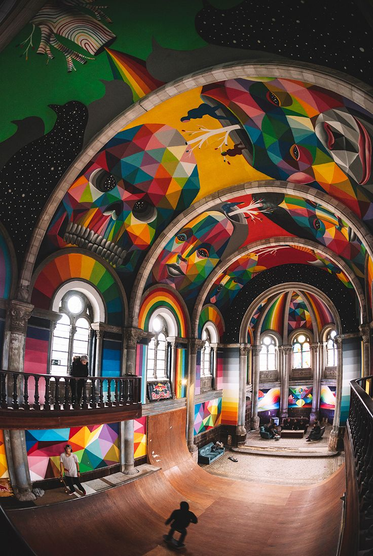 This used to be a church and was adapted to be a skate park painted by Okuda San Miguel in Asturias, Spain
