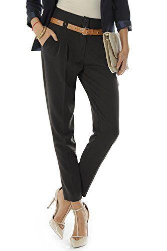 Bestyledberlin Damen Hosen, Bundfaltenhosen mit Gürtel j248p 34/XS schwarz