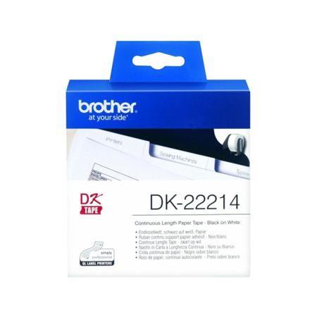 Brother DK22214  — 769 руб. —  Бумажная клеящаяся лента (белая, ширина 12 мм), длина рулона 30,48 м. Не оригинальная лента Brother DK22214 произведена специально для уменьшение цены на маркировку продукции. Не смотря на снижение цены, качеств лент осталось неизменным.