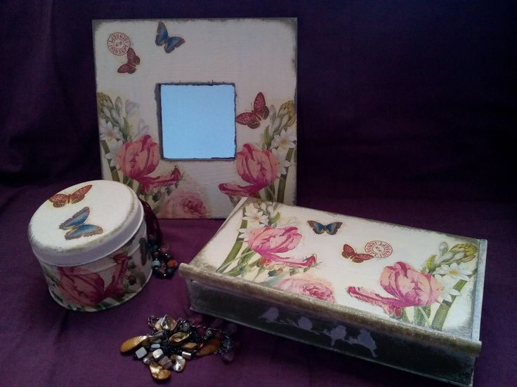 Mirror and box with decoupage