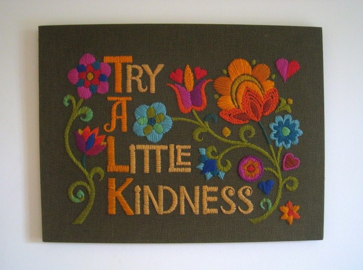 Vintage 1960s Crewel Work Embroidery Wall Hanging -Try A Little Kindness