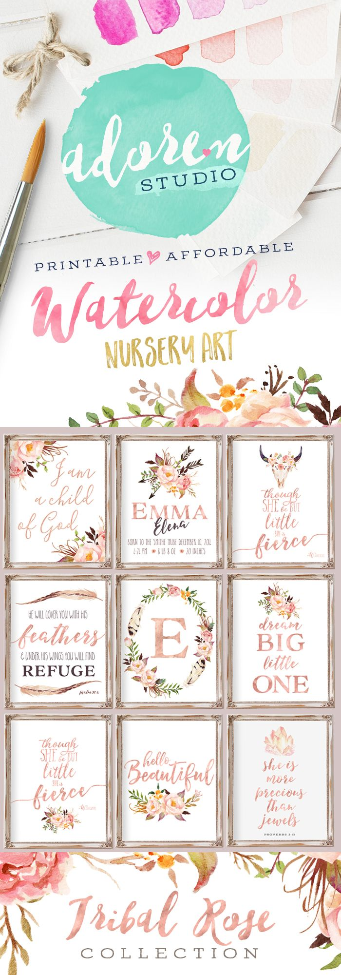 For a girl. Introducing the Tribal Rose Collection from Adoren Studio on Etsy Tribal Nursery Decor, Nursery Wall Art, Nursery Decor, Nursery Printables, Floral Nursery, Watercolor Nursery Art, Rose Gold Nursery, Baby Girl Nursery Quote Print