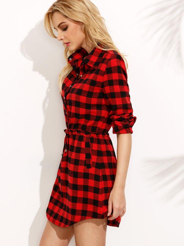 Red Plaid Drawstring Waist Shirt Dress