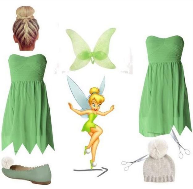 Simple Tinkerbell Teen Costume | Cute and Fun Halloween Costumes by DIY Ready at http://diyready.com/diy-tinkerbell-costume-ideas/