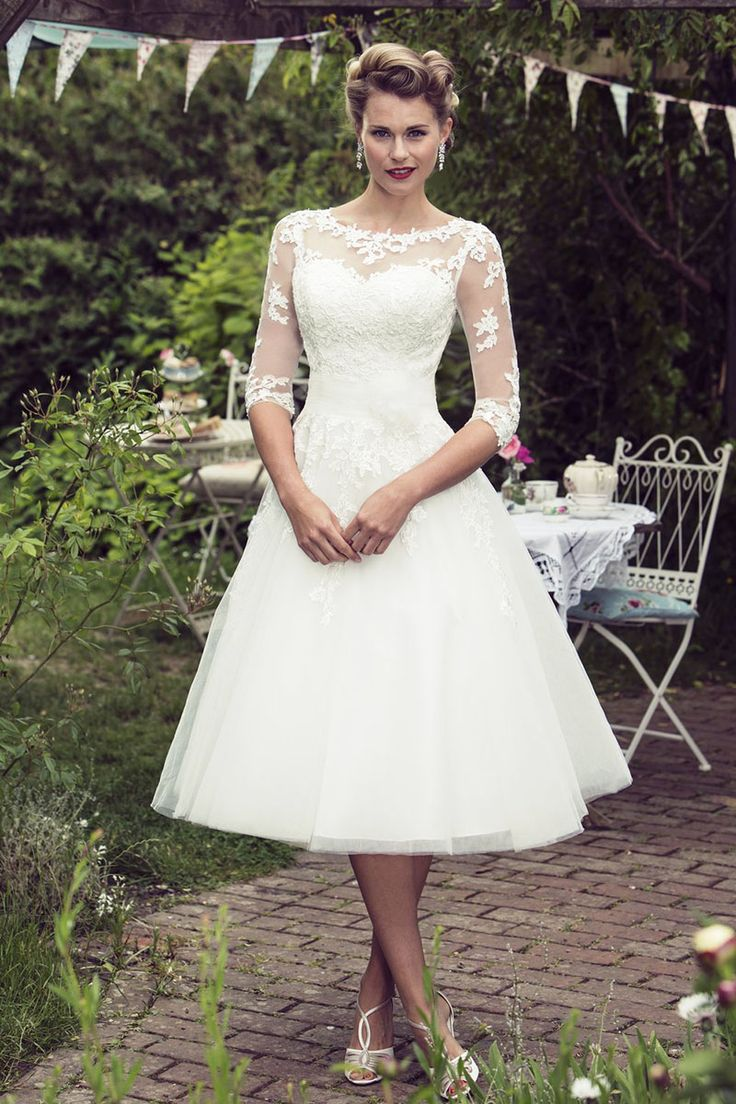 illusion neckline half sleeves rustic tea length organza wedding dress