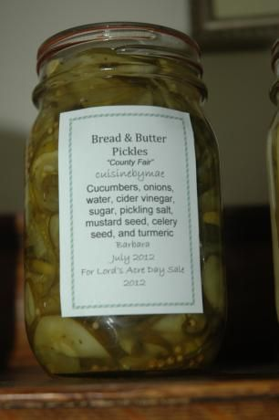 Bread and Butter Pickles from Food.com: This was my husband's grandmother's recipe. It is so good. Store-bought pickles don't even come close. This is a good recipe for anyone who would like to try pickling, but hasn't done it before. It's quite straight forward, not a lot of ingredients.