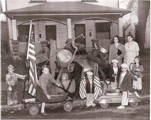 Oct. 1943, children collect scrap metal for war effort