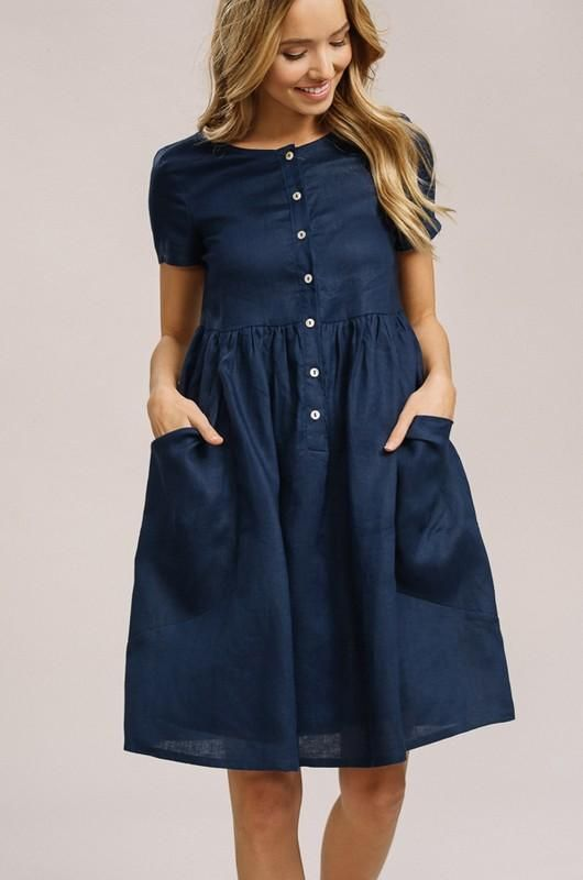 c7ad265841c LINEN BABYDOLL DRESS WITH PATCH POCKETS - Linen babydoll dress with patch  pockets - Soft linen fabric - Button down on center front - Patch pockets  on skirt ...