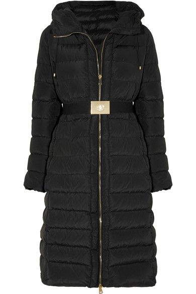 MONCLER Imin belted quilted shell down coat £705  Black shell Two-way zip fastening through front 100% polyester; lining: 100% polyamide; filling: 90% down (Goose), 10% feathers (Goose) Spot clean