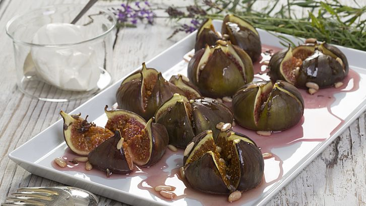 Figues grillées au miel de lavande et au yaourt