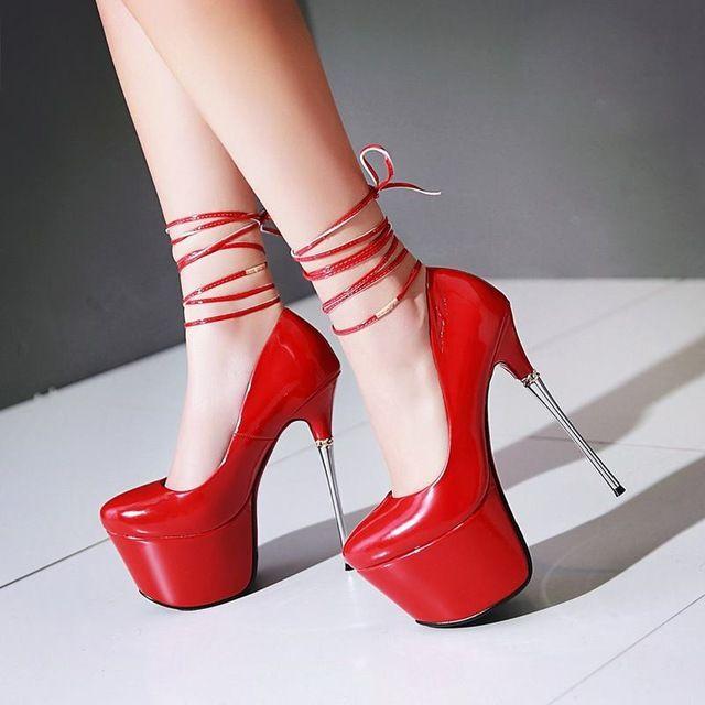 Plus size 32-43 novas mulheres da moda bombas de alta qualidade rodada toe plataforma de espessura ultra high saltos fundo vermelho da festa de casamento sapatos