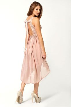 Jess Sequin Top Open Back Chiffon Dip Hem Dress at boohoo.com