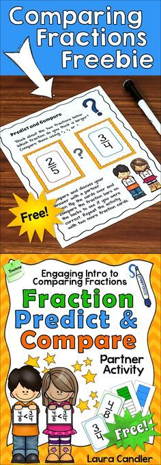 Comparing Fractions Freebie! Fraction Predict and Compare is an engaging partner activity for comparing fractions with different denominators. Students place two fraction cards side by side and predict which is larger. They discuss their reasons and then flip over the cards to compare the fraction bars on the back.