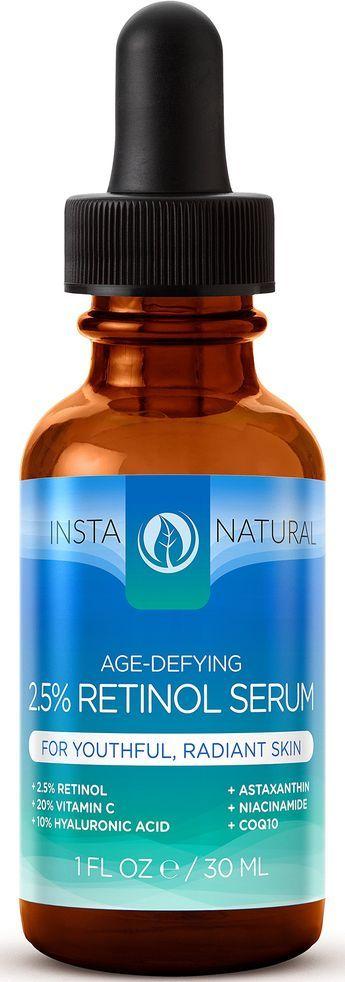 Retinol Serum 2.5% - With 20% Vitamin C, 10% Hyaluronic Acid, Astaxanthin, Niacinamide, CoQ10 & Organic Argan Oil - Best Anti Aging Anti Wrinkle Serum For Face & Sensitive Skin - InstaNatural - 1 OZ