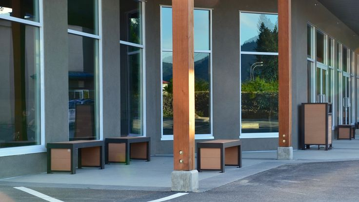 Wishbone #Urban #Form Straight #Benches at Emmanuel Church West Kelowna BC #bench #streetfurniture #landscapearch