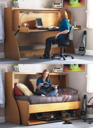 Ótima opção para otimizar o espaço e obter bancada de trabalho e cama no mesmo móvel e no mesmo local. 55 ideias para quartos pequenos - Assuntos Criativos