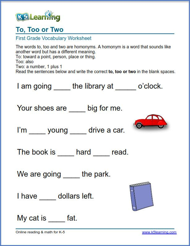 Grade 1 Vocabulary Worksheet Use Of To Too Or Two K5 Learning Vocabulary Worksheets Kindergarten Phonics Worksheets Vocabulary
